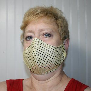 HANDMADE Gold Sequin Fabric Face Mask Shield